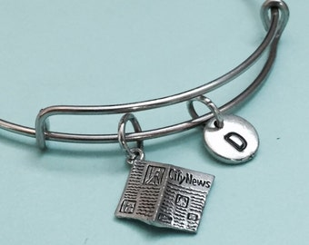 Newspaper bangle, newspaper charm bracelet, expandable bangle, charm bangle, personalize bracelet, initial bracelet, monogram