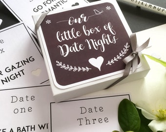 Date Night Box| Date Night Ideas| Date Night Cards| First Anniversary Gift| Paper Anniversary| For Husband, Wife, Girlfriend, Boyfriend