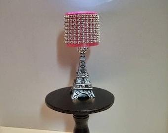 High Quality Doll Lamp   LED Fashion Doll Lamp   Paris Eiffel Tower Lamp Pink Bling Shade