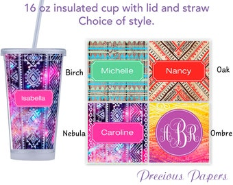 Personalized Tumblers with lid and straw - bohemian style tumblers, monogrammed tumblers, beach tumblers, adult sippy cup