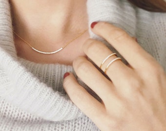 Curved Pave Bar Necklace   Delicate Bar Necklace   Gold and Pave Crystals
