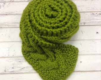 Lemongrass Green Scarf, Green Knit Scarf, Cable Scarf, Green Cable Scarf, Winter Scarf, Womens Scarf, Womens Accessories