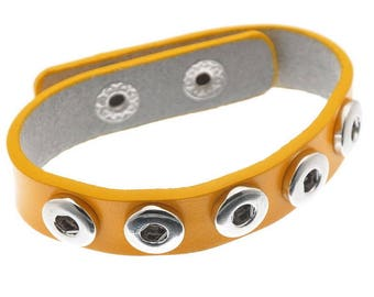 Bracelet 5 snaps (x 1) yellow leather