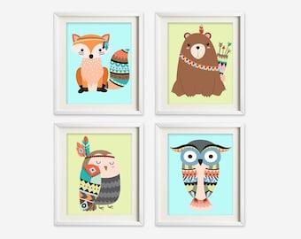 Tribal animals wall art - tribal nursery art - kids wall art - Nursery Decor -woodland nursery art - woodland wall art - fox nursery art