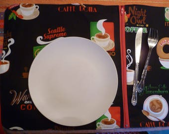 lunch placemat with compartment theme 'Italian coffee'