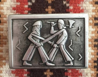 Vintage Pewter Match box case / Danish / Norwegian / Matchbox/ Matches /Trinket box / Norway / Denmark / TINN/  Pewter / Vikings /