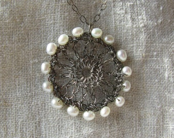 Radiant Silver and Pearl Pendant