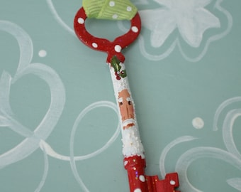 Hand Painted Santa Skeleton Key Ornament