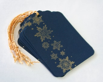 Snowflake Gold Tag Set 6 Blank holiday gift present tag christmas party blue
