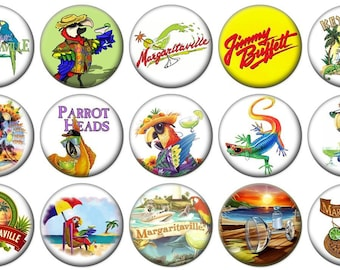 "1"" - JIMMY BUFFETT  MARGARITAVILLE Parrot Head -  Lot of 15 Buttons - Pin Back Button Badge"