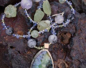 PAPILLON Necklace (Solar Quartz, Tanzanite, Amethyst, Peridot, Tourmalinated Quartz, Sterling Silver)