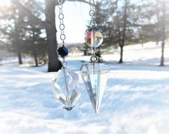 Quartz Pendulum, Sterling Chain, AB Glass Beads, AB Quartz Bead, Sparkling Clear Quartz, Crystal Pendulum, Chakra Balancing Pendulum