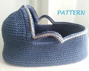 Crochet Pattern Baby Moses Basket Baby crochet pattern Crochet baby basket Crochet baby bassinet pattern PDF pattern Babyshower gift basket