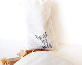 Mothers Day Treat Yo Self // 1/4 lb of Fleur de Sel Caramels in a Hand Stamped Muslin Bag // Perfect Birthday Gift