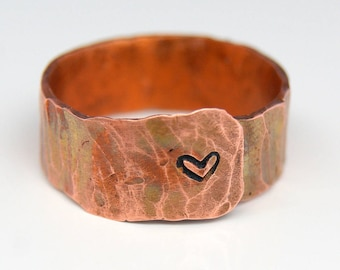 Pure copper ring, Adjustable love ring, Arthritis ring, Boho ring, Hammered copper ring, Boho jewelry, Copper rings