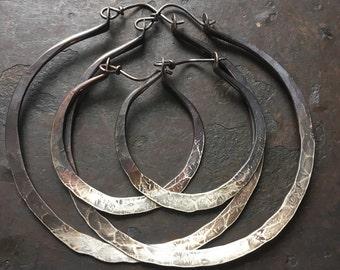 Silver Hoop Earrings, Sterling Silver, Gifts for Her, Silver Hoops, Rustic Jewelry, DanielleRoseBean Large Hoop Earrings, Black Friday Sale