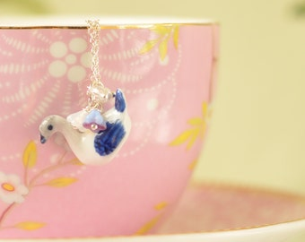 Eloise Porcelain Swan Pendant Necklace