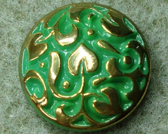 Czech Glass Button 23mm - hand painted - green, gold (B23253)