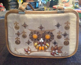 """Vintage Enid Collins canvas & leather purse """"Penny Wise"""""""