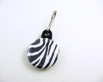 Zebra, Zipper Pull, Zipper Charm, Black and White