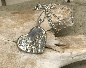 Fine Silver Heart Necklace With CZ Diamond Sun and Gold Plated Waves