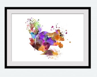 Squirrel watercolor print Squirrel colorful poster Animal watercolor illustration Home decoration Kids room wall art Nursery room gift  W299