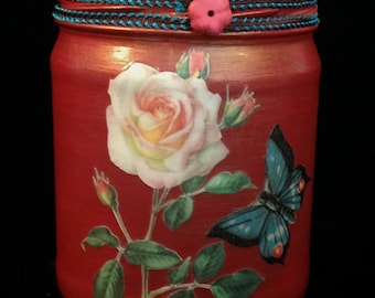 Romantic Roses and Butterfly Decoupaged & Handpainted Upcycled Glass Jar