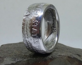 1964 Kennedy Half Dollar Coin Ring 90 % Silver Reverse