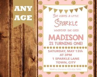 Sparkle Birthday Invitation- PRINTABLE- Pink Invitation-Glitter Party- Pink and Gold Birthday Invite- Glitter Birthday Invitation- Sparkle