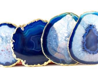 Agate Drink Coasters--Blue Agate Coasters--Agate Coaster Set