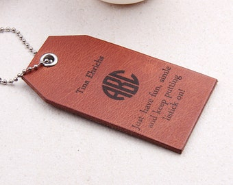 Custom Block Monogram Name Leather Travel Tag - Leather Luggage Tag - Travel Gift, Wedding Gift, Anniversary Gift, Personalized Gift For Him