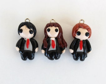 Harry Potter,Hermione, Ron Charm, Dust Plug, Key chain, Earrings, Necklace, Bracelet, Hair Clip, Magnet, Pin or Brooch - Polymer Clay Charms