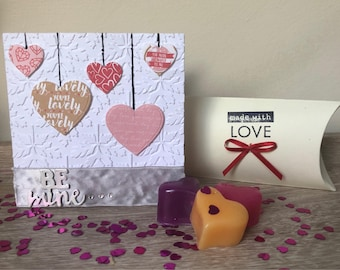 Be Mine - embossed heart detail Valentine's Day card - CARD ONLY