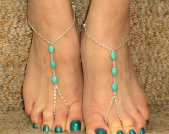 Silver turquoise barefoot sandals, Slave bracelet ring foot, foot bracelet, Silver turquoise ankle jewelry, Barefoot sandals,