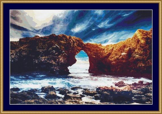 Coastal Arch Cross Stitch Pattern - Instant Digital Download