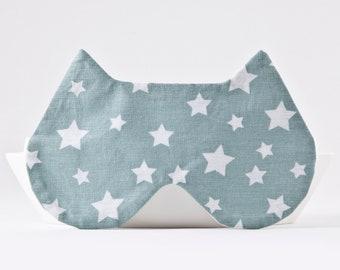 Mint Sleep Mask with the Stars, Cat Lover Gift, Girlfriend Gift, Cat Eye Pillow, Cat Sleep Mask, Stars Eye Mask, Mint Blindfold