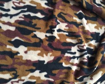 Brown and Black Camouflage Polar Fleece Fabric