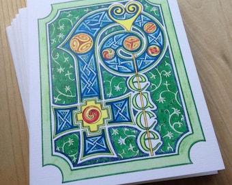 6 blank cards - PEACE - illuminated manuscript