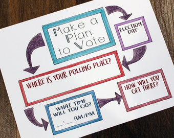 Make a Plan to Vote - Printable Postcards to Voters  - Color Pencil Postcard - Political Postcards - Instant Download - Fillable Voter Plan