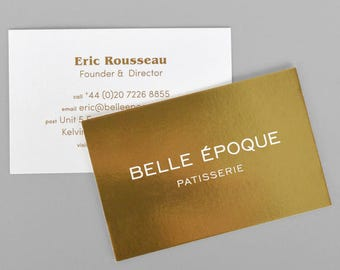 500 Business Cards - inline metallic foil - 16 PT cover stock - with UV glossy - custom printed