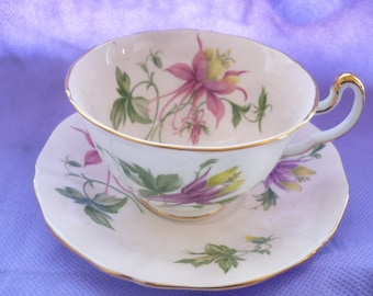 Vintage Adderly Fine Bone China, England Numbered Floral Splashed Tea Cup and Saucer
