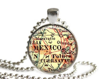 Mexico City map resin pendant, map necklace pendant, map charms, photo pendant, boyfriend gift, father's day, grandpa gift, dad ideas, A234