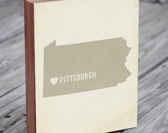 Pittsburgh Art Print - Pitt - Pittsburgh Art - Pittsburgh Pennsylvania - I Love Pittsburgh - Wood Block Art Print