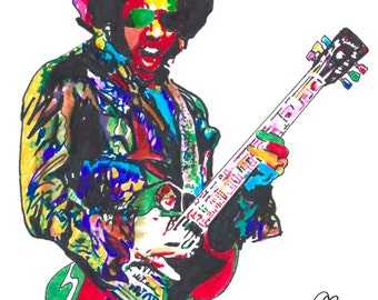 """Lenny Kravitz: POSTER from Original Drawing 18"""" x 24"""" Signed/Dated by Artist w/COA"""