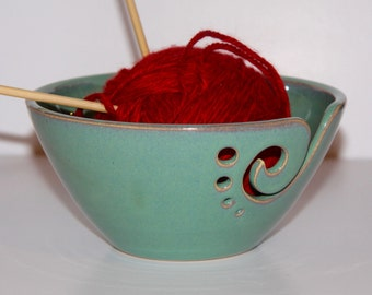 Yarn Bowl / Knitting Bowl / Crochet Bowl / Sea Foam Green Yarn Bowl / Made to Order