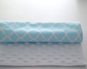 Quatrefoil Blue Personalized Minky Burp Cloth