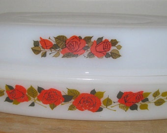 large 2 part Vintage Phoenix opaline glass oval casserole dish lid lid like pyrex with rose design