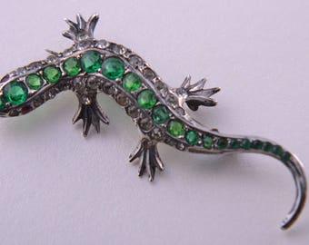 Silver 1920's Lizard Brooch With Diamanté (613l)