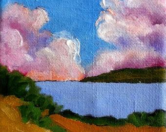 Miniature Painting 4x4 California Plein Air Landscape Pond Lake Hills Lynne French O/C