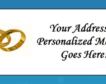 60 Personalized Wedding Rings Gold Return Address Labels